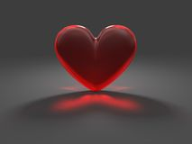 Cuore rosso misterioso con effetto caustico Fotografie Stock