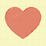 Cuore rosso nella carta del taccuino Fotografie Stock