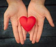 Cuore rosso nelle mani Fotografia Stock Libera da Diritti