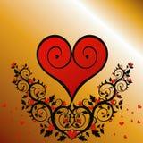 Cuore rosso (ornamento del fiore) Fotografie Stock