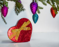 Cuore rosso presente sotto l'albero di Natale Fotografia Stock Libera da Diritti