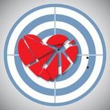 Cuore rosso rotto nei pezzi sull'obiettivo blu Illustrazione Vettoriale
