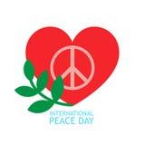 Cuore rosso, simbolo verde di pace e del ramo di ulivo dentro per il manifesto o il fondo circa il giorno di pace Fotografia Stock