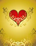 Cuore rosso su un ornamento del fiore Immagine Stock