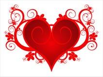 Cuore rosso su un ornamento del fiore Fotografia Stock Libera da Diritti