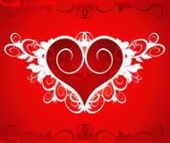Cuore rosso su un ornamento del fiore Immagine Stock Libera da Diritti