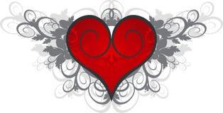 Cuore rosso su un ornamento del fiore Fotografie Stock