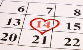 Cuore rosso sul calendario Fotografia Stock
