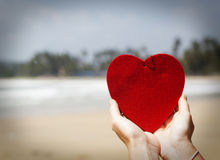 cuore rosso sulla spiaggia sabbiosa esotica - concetto di San Valentino Fotografie Stock Libere da Diritti