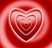 Cuore rosso sulla spirale Fotografie Stock