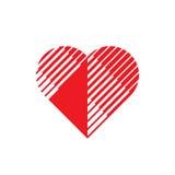 Cuore rosso - vector l'illustrazione di concetto del modello di logo Segno di amore Simbolo creativo di giorno del ` s del biglie illustrazione vettoriale