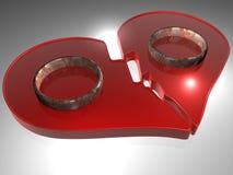 Cuore rotto - anelli - 3D illustrazione di stock