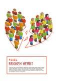 Cuore rotto composto della gente isometrica di arte del pixel royalty illustrazione gratis