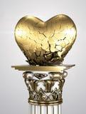 Cuore rotto dorato Fotografia Stock Libera da Diritti