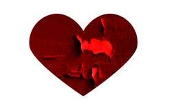 Cuore rotto rosso Fotografia Stock