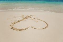 Cuore in sabbia Fotografia Stock