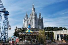 Cuore sacro della cattedrale sulla montagna Tibidabo Fotografie Stock
