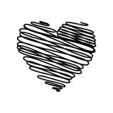 Cuore - schizzo dello scarabocchio della matita che assorbe il nero su fondo bianco Concetto di scarabocchio della carta del bigl Fotografie Stock