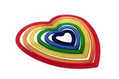 Cuore scuro all'interno di sei formati a forma di del cuore Immagine Stock
