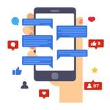 Cuore, simili ed osservazioni Attività sociali di media sullo schermo dello smartphone Smartphone della tenuta della mano Progett illustrazione di stock