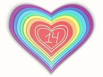 Cuore stilizzato della carta dell'arcobaleno immagine stock libera da diritti