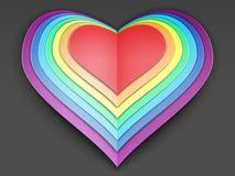 Cuore stilizzato della carta dell'arcobaleno immagini stock libere da diritti