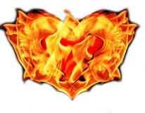 Cuore su fuoco Fotografie Stock