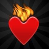 Cuore su fuoco Immagine Stock