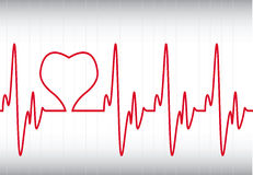 Cuore su un Cardiogram Immagine Stock