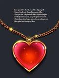 Cuore sulla catena dorata con luce, gioielli di progettazione Fondo di giorno del ` s del biglietto di S Immagine Stock