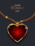 Cuore sulla catena dorata con luce, gioielli di progettazione Fondo di vettore di giorno del ` s del biglietto di S. Valentino Immagine Stock Libera da Diritti