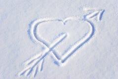 Cuore sulla neve Fotografia Stock