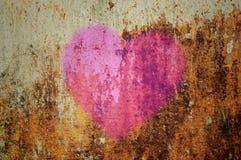 Cuore sulla parete di lerciume Fotografia Stock Libera da Diritti