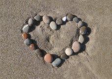 Cuore sulla sabbia Fotografie Stock Libere da Diritti