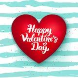 Cuore sveglio felice di giorno di biglietti di S. Valentino Fotografia Stock