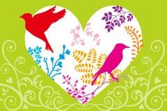 Cuore, uccelli e piante della primavera royalty illustrazione gratis