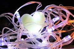 Cuore in un nido delle luci leggiadramente Fotografie Stock