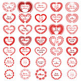 Cuore Valentine Red Big Set delle corone Fotografia Stock