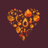 Cuore variopinto della frutta di vettore Immagine Stock
