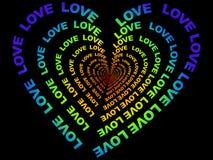 Cuore variopinto fatto del testo di amore Fotografie Stock Libere da Diritti