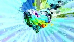 Cuore variopinto Openwork in un alone di palpitazione sui raggi giranti nello stile di arte di impulso errato stock footage
