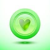Cuore verde del bottone Fotografie Stock