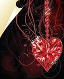 Cuore vermiglio, giorno di biglietti di S. Valentino di nozze Fotografia Stock Libera da Diritti