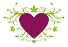 Cuore viola di amore con floreale verde Immagini Stock