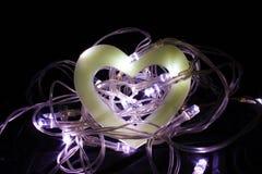 Cuore vuoto in un nido delle luci leggiadramente Fotografia Stock Libera da Diritti