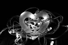 Cuore vuoto in un nido delle luci leggiadramente Fotografia Stock