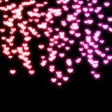 Cuori al neon Fotografia Stock Libera da Diritti