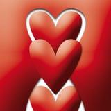 Cuori allegri rossi Immagine Stock