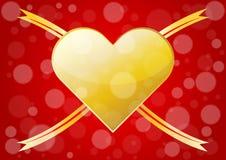 Cuori astratti dell'oro per il fondo di giorno di biglietti di S. Valentino Immagini Stock Libere da Diritti