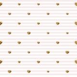 Cuori astratti di giorno del biglietto di S. Valentino s Cuori brillanti dell'oro Fondo spogliato senza cuciture Fotografia Stock